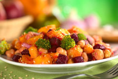 Pumpkin, Beetroot, Broccoli and Chickpea Salad Stock Images