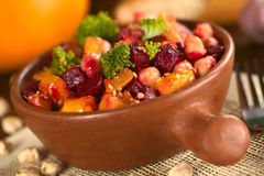 Pumpkin, beetroot, broccoli and chickpea salad Royalty Free Stock Image