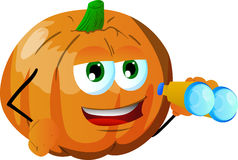 Pumpkin with binoculars Royalty Free Stock Photography