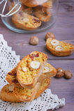 Pumpkin biscotti with hazelnuts. And cranberries Royalty Free Stock Photo