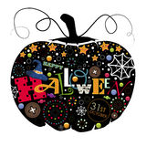 Pumpkin black with colored elements. The picture pumpkin for Halloween. Pumpkin black with colored elements inside the loop. Happy Halloween Royalty Free Stock Photo