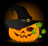 Pumpkin is in the black hat Stock Image