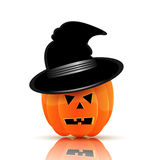Pumpkin in black hat for Halloween Stock Photography