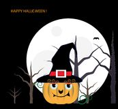 Pumpkin in black hat sitting in forest at night Royalty Free Stock Photography
