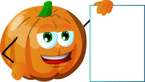 Pumpkin with blank board Stock Photo