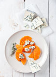 Pumpkin with blue cheese Stock Photos
