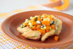 Pumpkin with blue cheese in puff pastry Stock Images