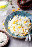 Pumpkin, blue cheese risotto in a ceramic plate Stock Image