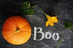 Pumpkin with Boo sign Stock Photos