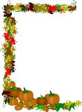Pumpkin border for fall. Pumpkin border with leaves and vines for fall on white Royalty Free Stock Photos