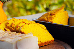 Pumpkin bread and bacon Royalty Free Stock Photos