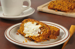 Pumpkin bread and coffee Stock Images