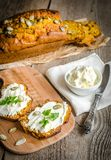 Pumpkin bread with cream cheese Stock Image