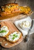 Pumpkin bread with cream cheese stock image