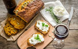 Pumpkin bread with cream cheese Royalty Free Stock Photo