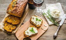 Pumpkin bread with cream cheese stock images