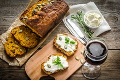 Pumpkin bread with cream cheese Royalty Free Stock Photos
