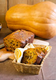 Pumpkin bread with nuts and chocolate chips Stock Image