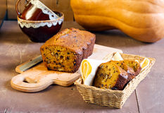 Pumpkin bread with nuts and chocolate chips Royalty Free Stock Photo