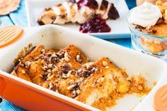 Pumpkin bread pudding Stock Photo