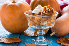Pumpkin bread pudding  topped with whipped cream Royalty Free Stock Photography