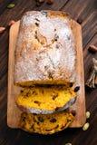 Pumpkin bread, top view Stock Photos