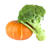 Pumpkin and broccoli Stock Photography