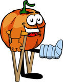 Pumpkin with a broken leg walking on crutches Stock Image