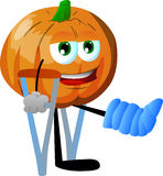 Pumpkin with a broken leg walking on crutches Royalty Free Stock Images