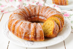 Pumpkin Bundt Cake with Sugar Icing Royalty Free Stock Image