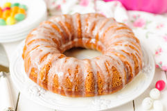 Pumpkin Bundt Cake with Sugar Icing Royalty Free Stock Photos