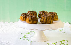 Pumpkin bundt cakes with chocolate Royalty Free Stock Photo