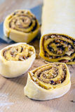 Pumpkin buns with cinnamon and nuts. Stock Image