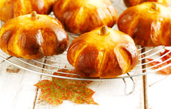 Pumpkin buns Stock Photo