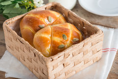 Pumpkin buns topping with pumpkin seeds in the basket. Pumpkin buns topping with pumpkin seeds in the basket royalty free stock image
