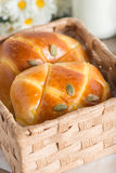 Pumpkin buns topping with pumpkin seeds in the basket. Pumpkin buns topping with pumpkin seeds in the basket stock image