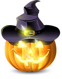 Pumpkin with burning eyes. In a hat stock illustration