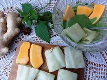 Pumpkin cabbage tempura, cooking vegetarian food. Pakora, deep with green batter nettles Stock Photography