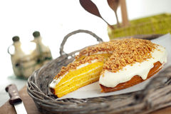 Pumpkin Cake. A delicious pumpkin cake filled and frosted with cream cheese icing. Shallow depth of field on the slice Stock Photography