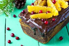Pumpkin cake with chocolate and oranges. Pumpkin cupcake with chocolate, cranberries and oranges Royalty Free Stock Image