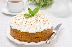 Pumpkin cake with cream Stock Photo
