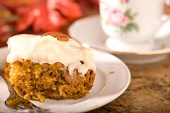 Pumpkin Cake with Frosting Royalty Free Stock Photography