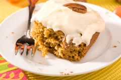 Pumpkin Cake with Frosting Stock Photography