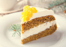 Pumpkin cake with jam, Christmas decoration royalty free stock photography