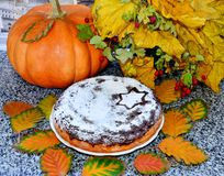 Ripe juicy raspberry and aromatic pearPumpkin cake lies on a plate, whole pumpkin, autumn colorful leaves royalty free stock image