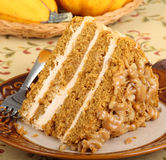 Pumpkin Cake Slice Closeup Stock Image
