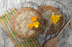 Pumpkin cake with spiced and ground walnuts stock images