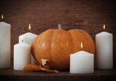 Pumpkin with candels Royalty Free Stock Image