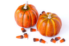 Pumpkin and Candy Corn Decorations on a white background. Halloween pumpkins and festive candy corn on a white background royalty free stock photo