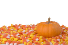 Pumpkin and Candy Corn Royalty Free Stock Image